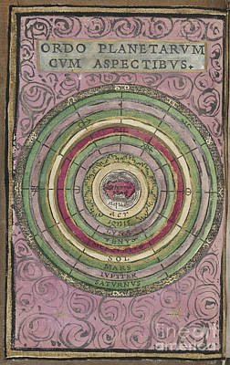 Photograph - Ordo Planetarvm Cvm Aspectibvs Map By Johannes Honter 1542 by Rick Bures