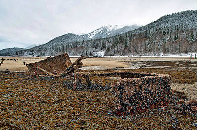 Photograph - Ore Carts On Beach Near Cave In Site by Cathy Mahnke