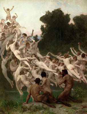 Artemis Wall Art - Painting - Oreads by William-Adolphe Bouguereau