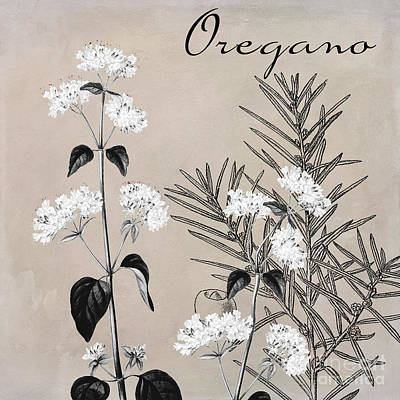 Monochrome Painting - Oregano Flowering Herb by Mindy Sommers