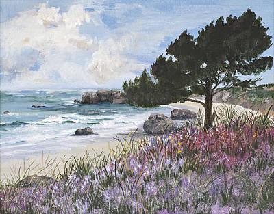 Ocean Inlet Painting - Oregon Beach by Virginia McLaren