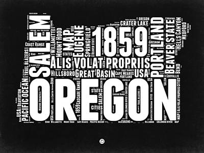 Beaver Digital Art - Oregon Black And White Map by Naxart Studio