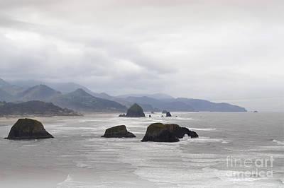 Oregon Coast Mountain Clouds Landscape Art Print by Andrea Hazel Ihlefeld