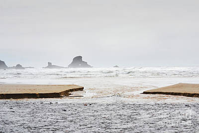 Photograph - Oregon Coast Ocean Sand Bar Landscape  by Andrea Hazel Ihlefeld