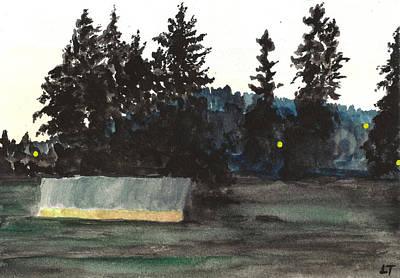 Field Lights Drawing - Oregon Field At Twilight by Elizabeth Thorstenson