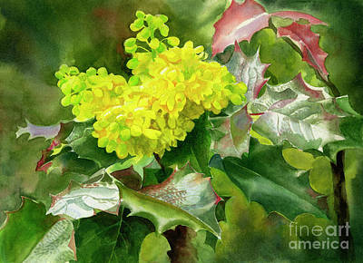 Oregon State Painting - Oregon Grape Blossoms With Leaves by Sharon Freeman
