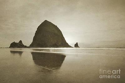 Oregon Haystack Rock Beach Rustic Landscape Art Print by Andrea Hazel Ihlefeld