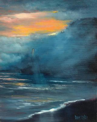 Oregon Lighthouse Art Print by Sally Seago