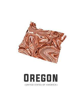 Oregon State Mixed Media - Oregon Map Art Abstract In Brown by Studio Grafiikka