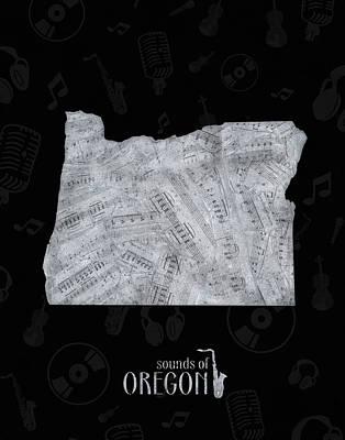 Digital Art - Oregon Map Music Notes 2 by Bekim Art