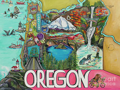Oregon State Painting - Oregon Map by Patti Schermerhorn