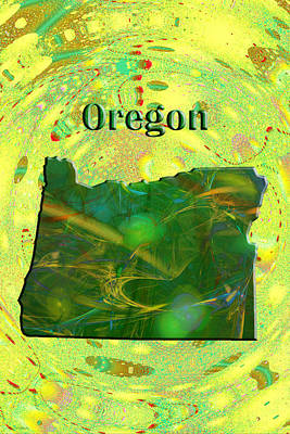 Oregon State Painting - Oregon Map by Roger Wedegis