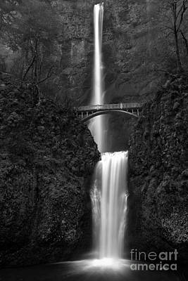 Photograph - Oregon Multnomah Falls Black And White by Adam Jewell