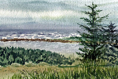 Fog Painting - Ocean Shore by Irina Sztukowski