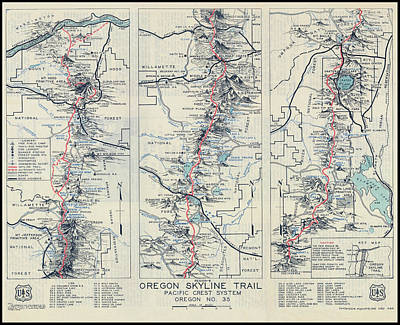 Corvallis Photograph - Oregon Skyline Pacific Crest Hiking Map  1936 by Daniel Hagerman