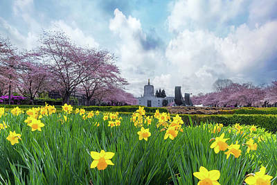Photograph - Oregon State Capitol In Spring Season by David Gn
