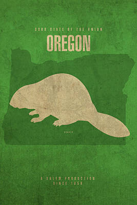 Beaver Mixed Media - Oregon State Facts Minimalist Movie Poster Art by Design Turnpike