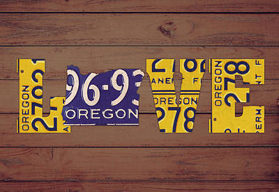 Oregon State Mixed Media - Oregon State Love Heart License Plates Art Phrase by Design Turnpike