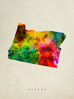 Oregon State Painting - Oregon State Map 01 by Aged Pixel