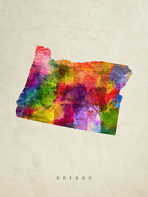 Oregon State Painting - Oregon State Map 02 by Aged Pixel