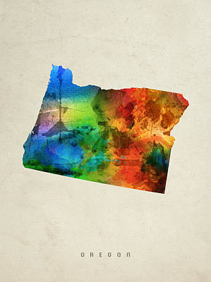 Oregon State Painting - Oregon State Map 03 by Aged Pixel