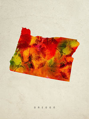 Oregon State Painting - Oregon State Map 04 by Aged Pixel