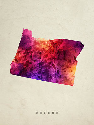Oregon State Painting - Oregon State Map 05 by Aged Pixel