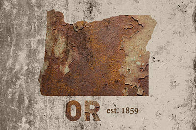 Oregon State Map Industrial Rusted Metal On Cement Wall With Founding Date Series 043 Art Print