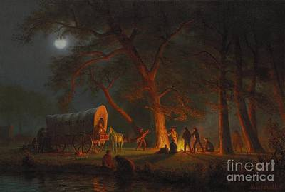 Moonlit Night Painting - Oregon Trail by Albert Bierstadt