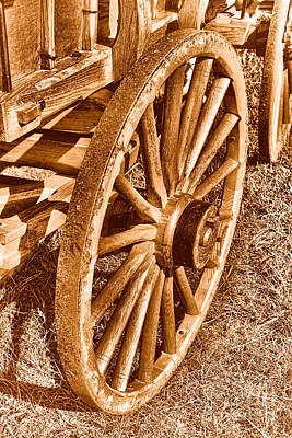 Wagon Wheels Photograph - Oregon Trail  - Sepia by Olivier Le Queinec