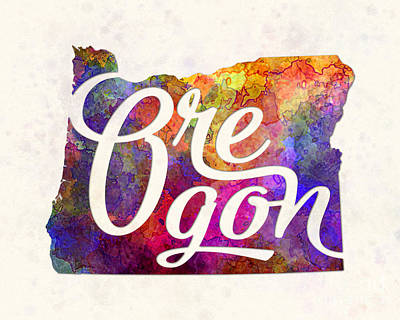 Oregon State Painting - Oregon Us State In Watercolor Text Cut Out by Pablo Romero