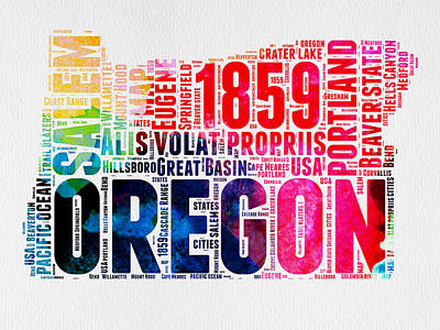 Usa Mixed Media - Oregon Watercolor Word Cloud by Naxart Studio