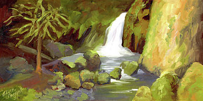 Painting - Oregon Waterfall by Alice Leggett