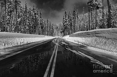 Photograph - Oregon Winter Roads - Black And White by Adam Jewell