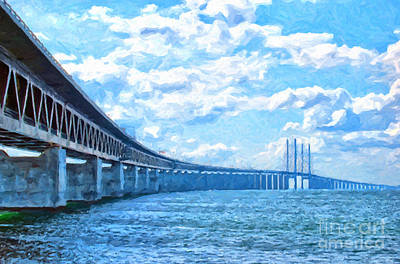 Rush Hour Digital Art - Oresundsbron Digital Painting by Antony McAulay