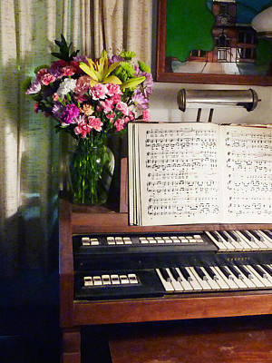 Musicians Photograph - Organ And Bouquet Of Flowers by Susan Savad