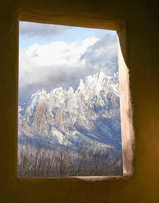 Organ Mountains Thru Adobe Window Art Print by Elaine Frink