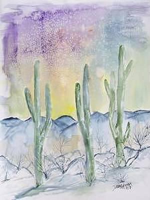 Music Figurative Potraits - Organ Pipe Cactus desert southwestern painting poster print by Derek Mccrea