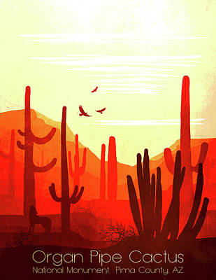 Abstract Landscape Painting - Organ Pipe Cactus National Park 1 - By Diana Van by Diana Van