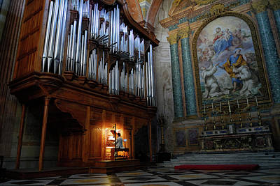 Santa Maria Degli Angeli Photograph - Organ Player In Saint Mary Of The Angels Basilica Rome by Reimar Gaertner