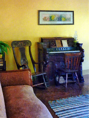 Living Room Photograph - Organ With Hurricane Lamp by Susan Savad