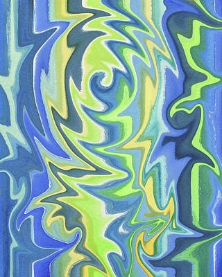 Painting - Organic Abstract Swirls Cool Blues by Irina Sztukowski