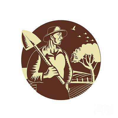 Agriculture Digital Art - Organic Farmer Holding Shovel Farm Circle Woodcut by Aloysius Patrimonio