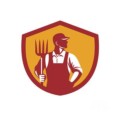 Agriculture Digital Art - Organic Farmer Pitchfork Crest Retro by Aloysius Patrimonio