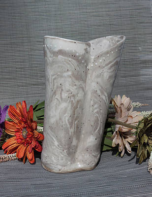Photograph - Organic Marbled Ceramic Clay Vase by Suzanne Gaff