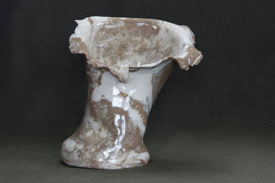 Ceramic Art - Organic Marbled Clay Ceramic Vase by Suzanne Gaff