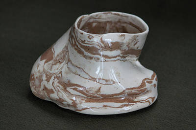 Ceramic Art - Organic Marbled Clay Ceramic Vessel by Suzanne Gaff