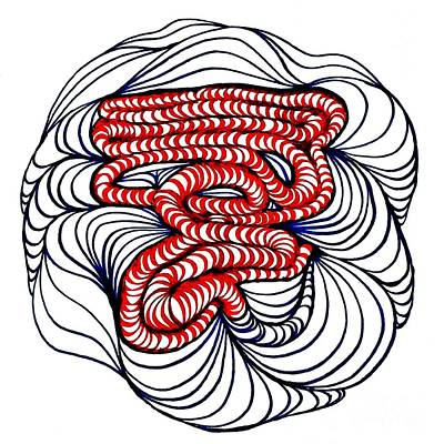 Modern Abstract Drawing - Organic Maze by Sarah Loft
