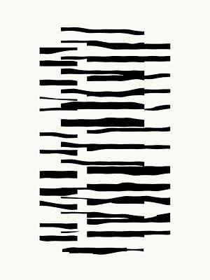 Digital Art - Organic No 13 Black And White Line Abstract by Menega Sabidussi