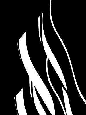 Digital Art - Organic No 17 Black And White Minimalism by Menega Sabidussi